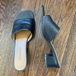 COPY - Naturalizer Black Leather 90s Heeled Mules